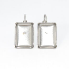 Stainless Steel French Clip Caboshon Earring Blanks Rectangular