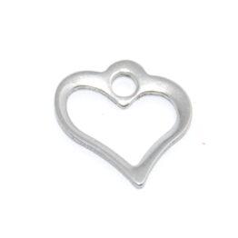 Nemesacél szív alakú fityegő charm