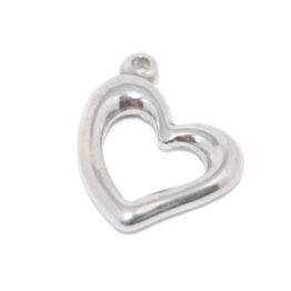 Nemesacél szív alakú fityegő charm medál