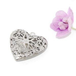 Nemesacél szív alakú nyitható medál alap