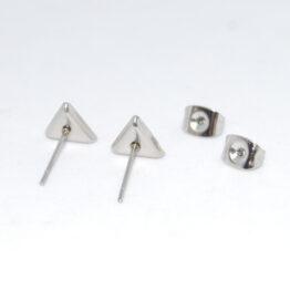 Háromszög alakú nemesacél bedugós fülbevaló alap