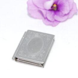 Nemesacél könyv alakú nyitható medál szelence