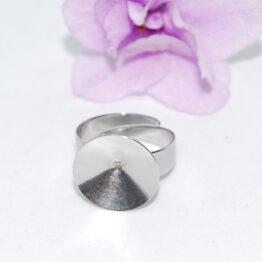 XS nemesacél rivoli foglalatos állítható gyűrű alap
