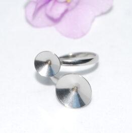 XS nemesacél dupla rivoli foglalatos gyűrű alap