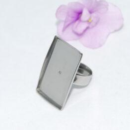 XS nemesacél gyűrű alap téglalap alakú foglalattal