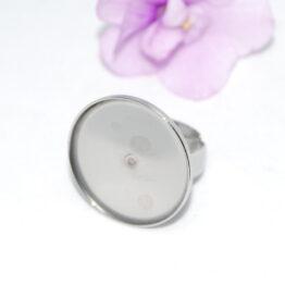 XS nemesacél állítható gyűrű alap kerek foglalattal 20mm