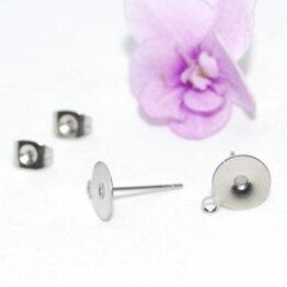 Ragasztható nemesacél bedugós fülbevaló alap akasztóval (8mm)