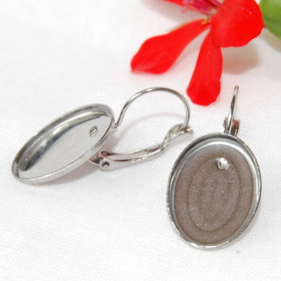 Stainless Steel French Clip Caboshon Earring Blanks Oval