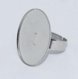 Nemesacél gyűrű alap ovális cakkos peremű foglalattal