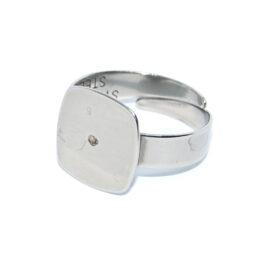 Ragasztható nemesacél gyűrű alap lapos négyszöletes