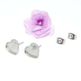 Kis szív alakú nemesacél bedugós fülbevaló alap