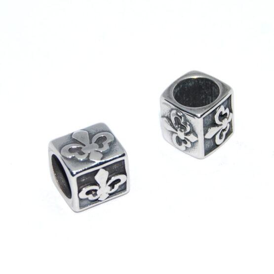 Nemesacél gyöngy kocka alakú mintás
