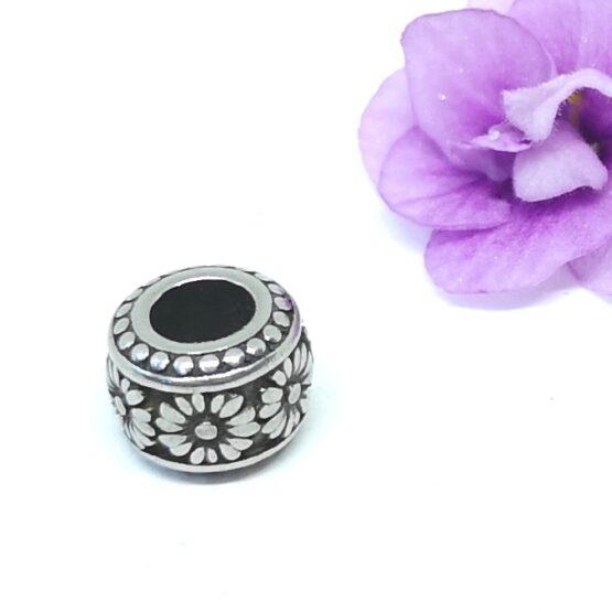 Nemesacél Pandora stílusú gyöngy virágos IV.