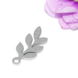 Nemesacél leveles ág fityegő charm