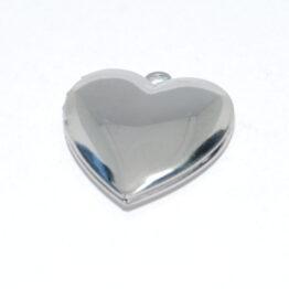 Tükörpolírozott nemesacél szív alakú nyitható medál szelence