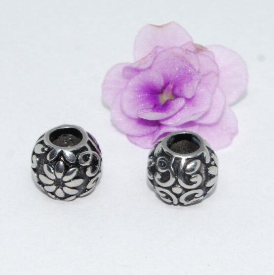 Nemesacél Pandora stílusú gyöngy virágos VII