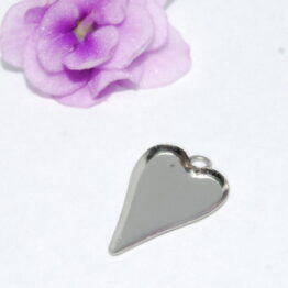 Nemesacél keskeny szív alakú medál alap karikával
