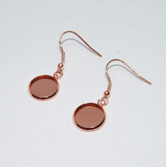 Nemesacél akasztós fülbevaló alap szűkülő peremmel (rose gold színű)