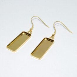 Nemesacél akasztós fülbevaló alap téglalap foglalattal (arany színű)