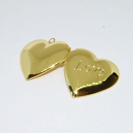 Nemesacél szív alakú Love nyitható medál szelence (arany színű)