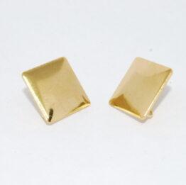 Négyzet arany színű nemesacél bedugós fülbevaló alap akasztóval