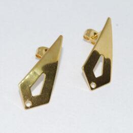 Deltoid arany színű nemesacél bedugós fülbevaló alap bővíthető