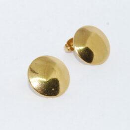 Kerek arany színű nemesacél bedugós fülbevaló alap akasztóval