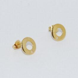 Arany színű kör nemesacél bedugós fülbevaló alap bővíthető