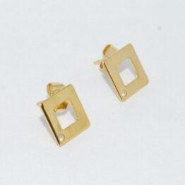 Arany színű négyzet nemesacél bedugós fülbevaló alap bővíthető