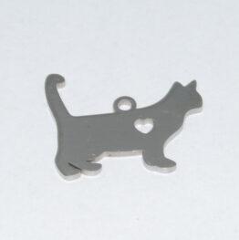 Nemesacél macska alakú medál alap