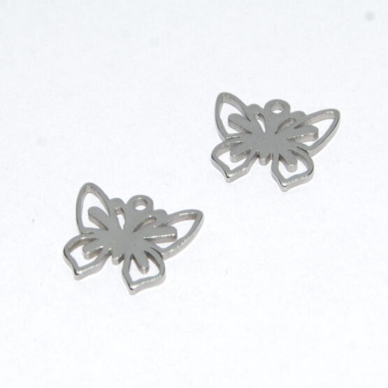 Nemesacél pillangó fityegő charm II.