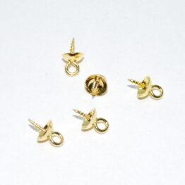 Gyöngykupakos nemesacél arany színű medál akasztó csavar hurokkal