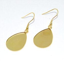 Nemesacél csepp alakú arany akasztós fülbevaló alap
