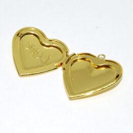 Nemesacél szív alakú Love nyitható medál szelence (arany színű) II.o.