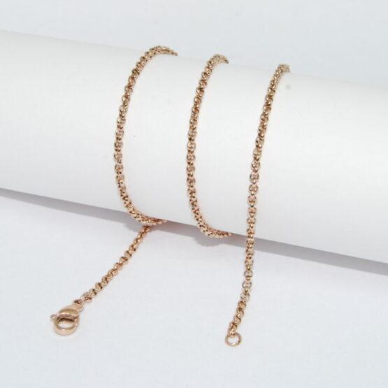 Rose gold színű nemesacél rolo lánc (45cm)