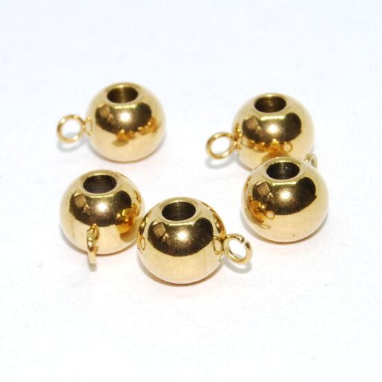 Nemesacél arany színű tömör köztes gyöngy karikával
